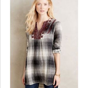 Anthropologie Embroidered Flannel Tunic Top